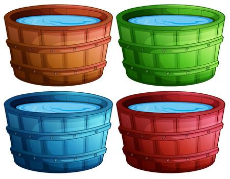 seau d eau: Illustration de quatre seaux de couleurs différentes