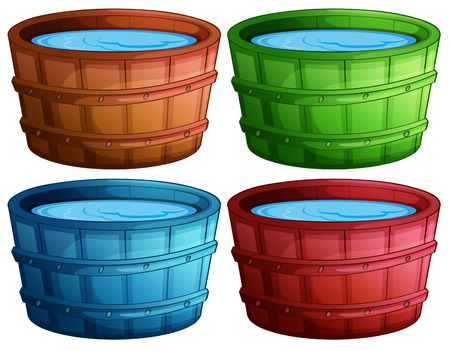 bucket of water: Illustration of four different color buckets