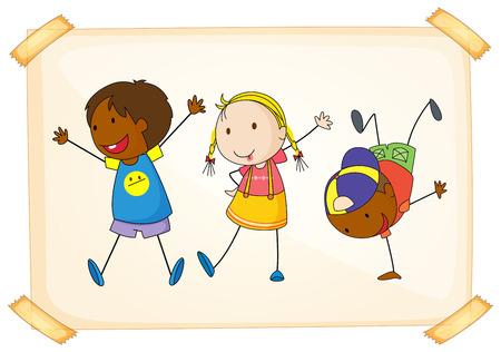 세 아이의 그림 재생 일러스트