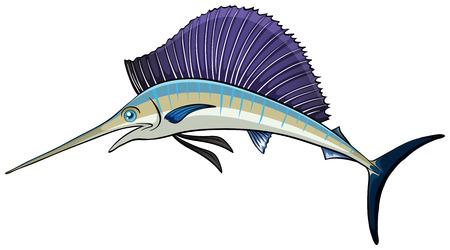 wild living: Illustration of a close up swordfish Illustration