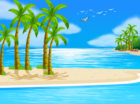 Illustration of a beautiful beach view Vector
