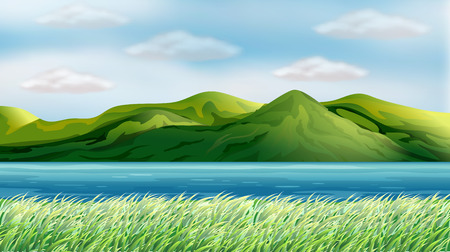 Illustration of a beautiful view of river and hillsides