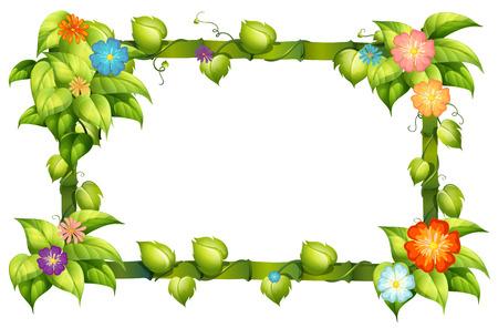 Illustratie van een bamboe en bloem frame