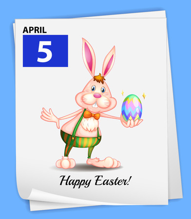 rabbit clipart: Illustration of April 5 is Easter