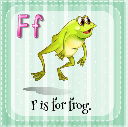 tropical frog: Illustration of a letter F is for frog