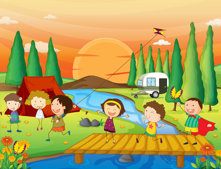 campground: Illustration of children playing kite at the campground
