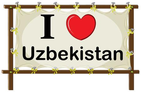 preference: Illustration of I love Uzbekistan banner
