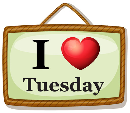tuesday: Illustration of I love Tuesday banner