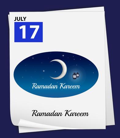believes: Illustration of July 17 is Ramadan Kareem