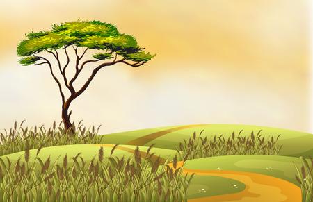 Illustratie van een enkele boom op een heuvel Vector Illustratie