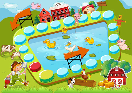 Illustration of a boardgame with countryside background Vector