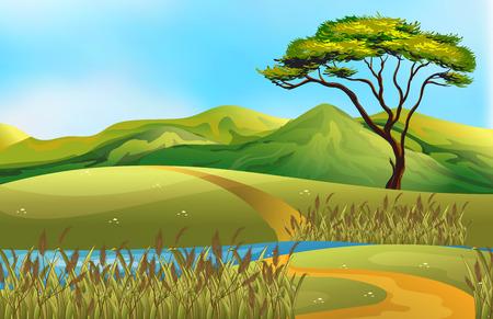 Illustrazione di un campo con il fiume attraversano