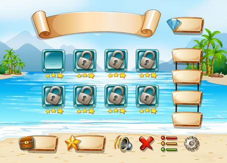 computer game: Illustration of a computer game with beach background Illustration
