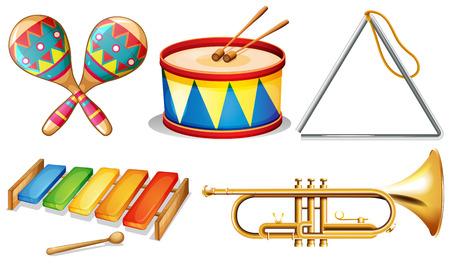 triangle musical instrument: Illustration of different musical instruments Illustration