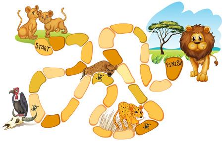 brettspiel: Illustration von einem Brettspiel mit Tieren Illustration