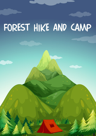 camping site: Illustration of a hiking site for camping