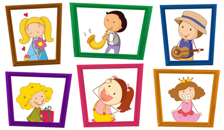 Illustration of children in photo frames Vector