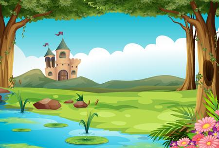 Illustration d'un château et d'un étang