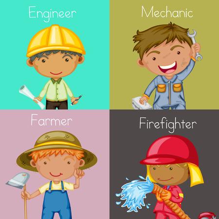 cartoon farmer: Illustration of four different occupations
