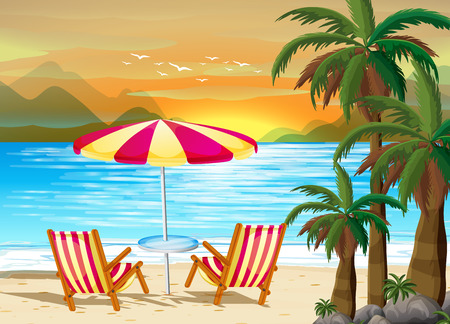 seawater: Illustration of a beach view with seats and umbrella