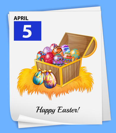 boiled eggs: Illustration of April 5 is Easter