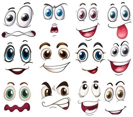 expresiones faciales: Ilustración de las diferentes expresiones