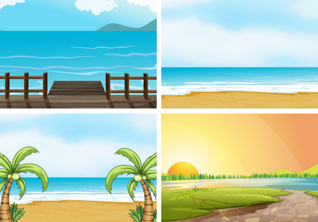 Illustration of four scenes of oceans