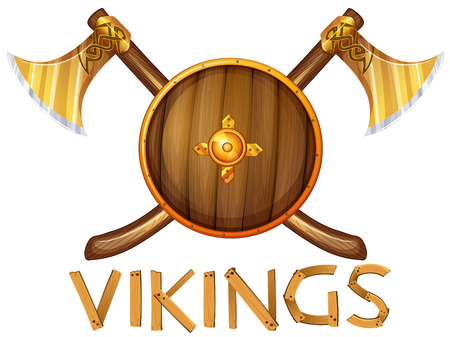 axe: Illustration of vikings sheild and axes