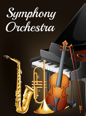 orchestra: Illustration of a symphony orchestra poster