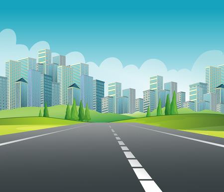 Illustratie van een weg naar de stad Stock Illustratie