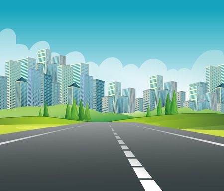 scenic highway: Illustration of a road to the city Illustration