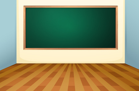 wood room: Illustration of an empty classroom with a board