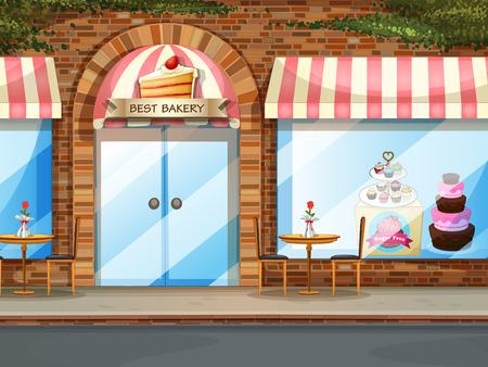 porcion de torta: Ilustración de una panadería con ventanas de vidrio Vectores