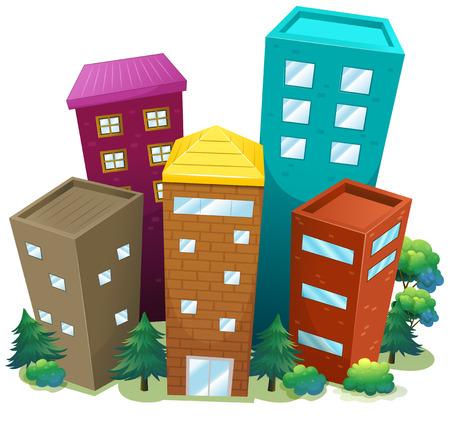 residental: Illustration of many skyscrappers Illustration