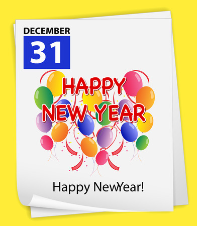 31: Illustration of December 31 is New Year