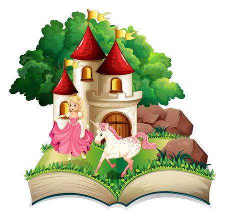 prinzessin: Illustration einer Prinzessin und Einhorn Buch