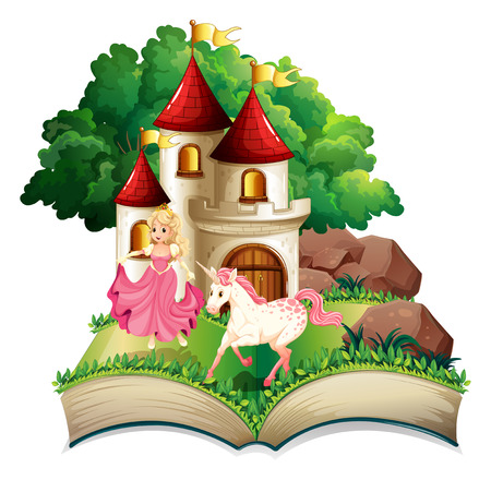 castillos de princesas: Ilustración de una princesa y libro unicornio Vectores