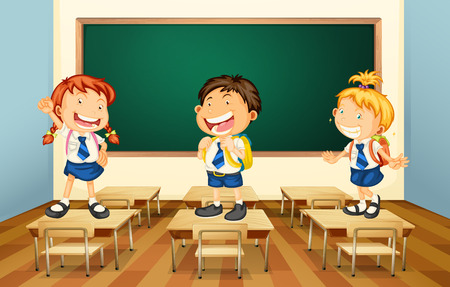 cartoon school girl: Illustration of students standing in the classroom Illustration