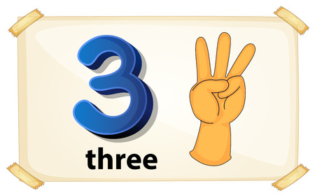 three hands: Illustration of a flashcard number three Illustration