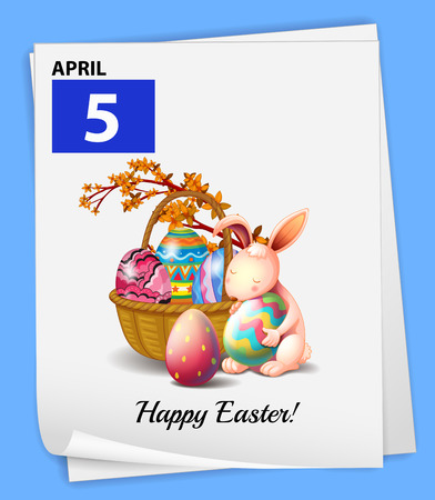 Illustration of April 5 is Easter day Vector