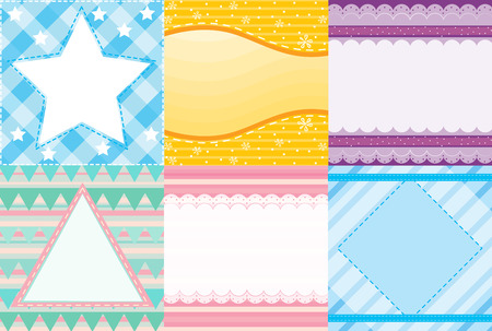 pink wall paper: Illustration of six different patterns of background