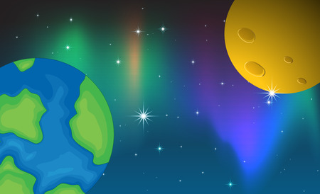 aurora: Illustration of two planets and aurora background Illustration