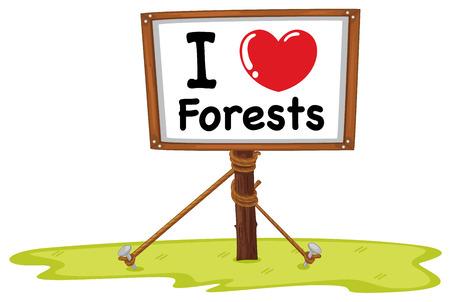 Illustration of I love forests sign Vector