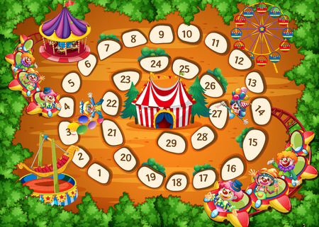Illustration of a boardgame with carnival background Illustration