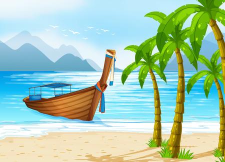 Illustratie van een boot drijvend op zee Vector Illustratie