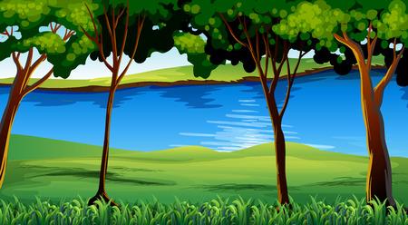 森林を通って実行川のイラスト  イラスト・ベクター素材