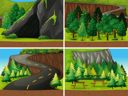 national forests: Illustration of scene of forest and campesite