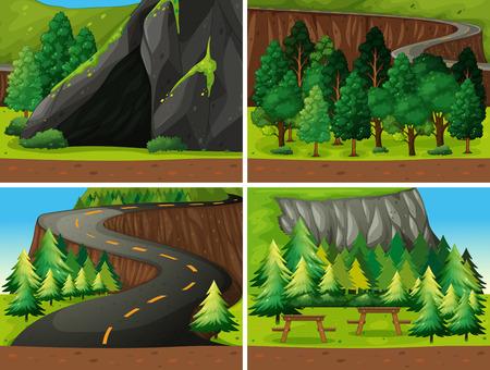 arboles de caricatura: Ilustraci�n de la escena del bosque y campesite Vectores