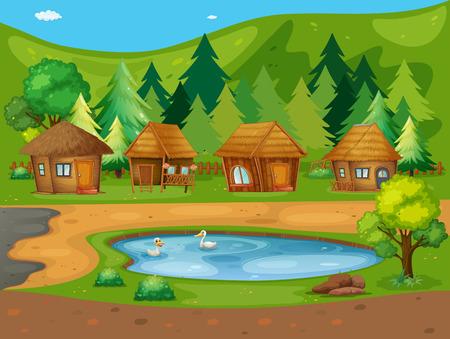 Illustrazione di molte capanne vicino al laghetto
