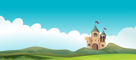 城と土地のイラスト